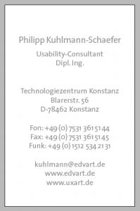 Rückseite der Visitenkarten-Vorlage mit InDesign