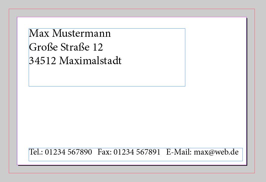 Indesign Textfelder Visitenkarte Visitenkarten Vorlagen