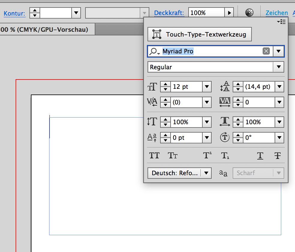 Zeichen formatieren für die Visitenkarte über Zeichen in Illustrator