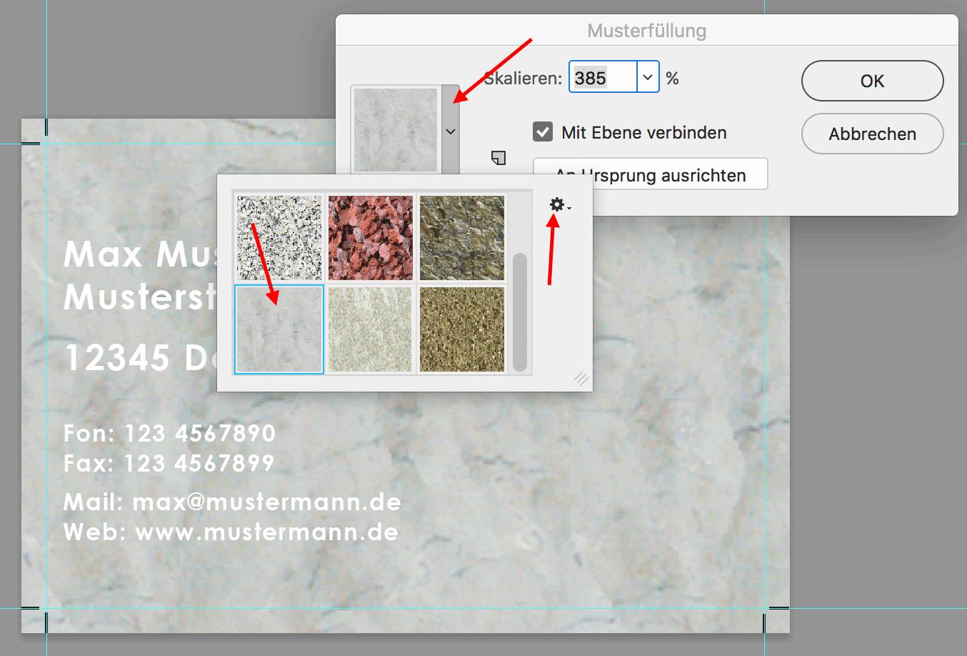 In Photoshop anderes Muster anwählen über Dropdown