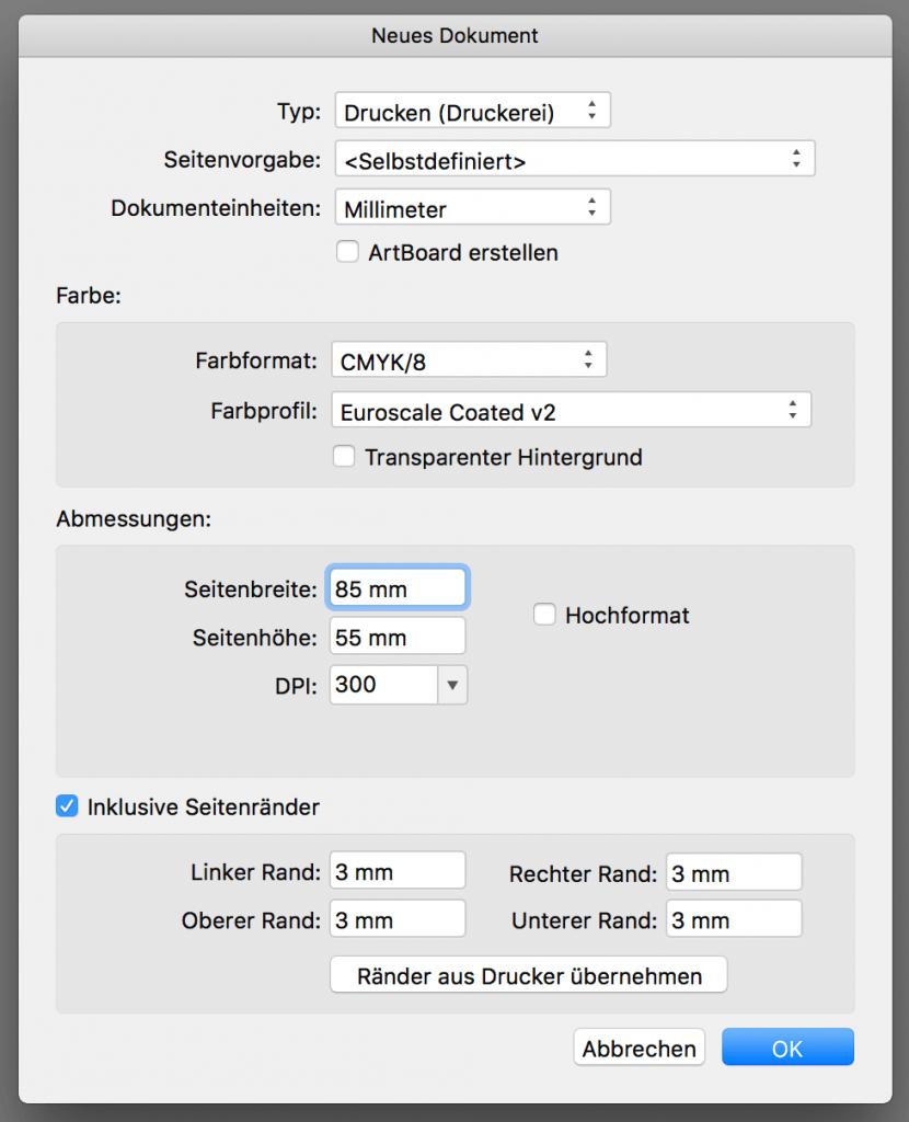 Einstellungen für Visitenkarte mit Affinity Designer